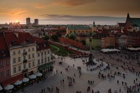 top view of old town at evening, poland, warsaw