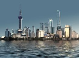 skyline of city at water, China, Shanghai