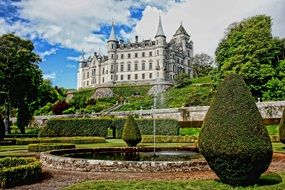 East front of Dunrobin Castle at beautiful garden, uk, scotland, Golspie
