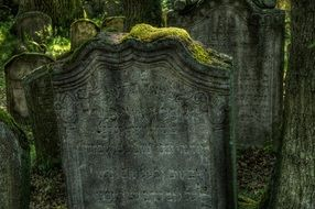 old mossy tombstone on jewish cemetery