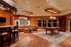 recreation room, luxury interior with bar and billiard table