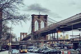 historic structure of suspension brooklyn bridge in New York City