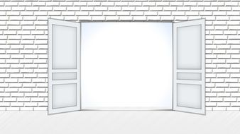 open door in white brick wall, illustration
