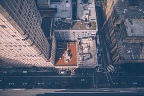 top view of street with office buildings, usa, manhattan, nyc