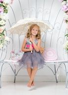 girl umbrella bench sitting young