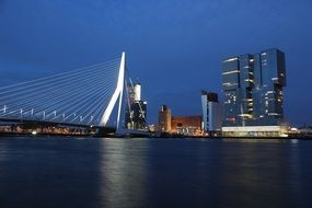 rotterdam bridge dark blue water building dark view