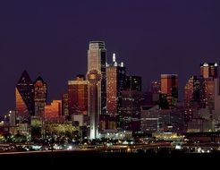 dallas texas skyline dusk usa night landscape