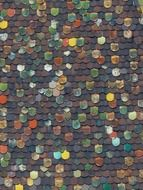old colorful tile roof, background