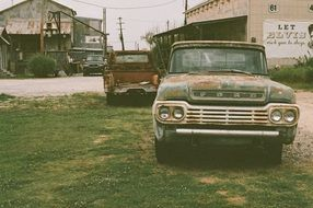 Old rusty vehicle ,vintage Ford car