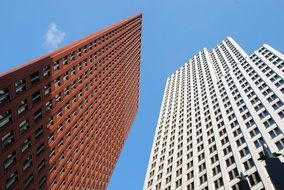 low angle view of tall buildings in Business Center of Hague, netherlands