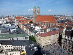top view of marienplatz and frauenkirche, germany, munich