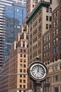 Clock and the facades of buildings, manhattan, new york city