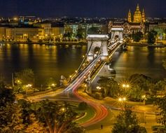 scenery night cityscape with Széchenyi Chain Bridge, hungary, budapest