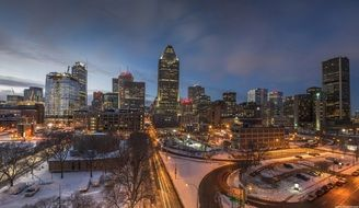 city at winter night, canada, montreal