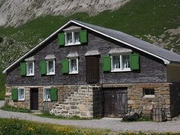 stone village house at mountain, switzerland, appenzell