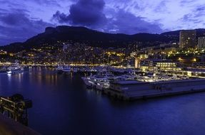 port in night monaco
