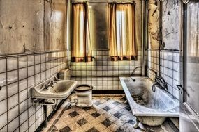 bath and bathroom in the state of decay