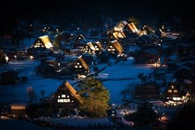 japan shirakawa go gifu heritage night view