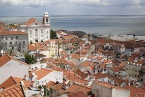 roof view of old town at sea, portugal, lisbon