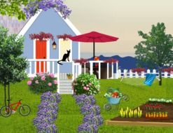 tiny house in beautiful garden at seaside, illustration