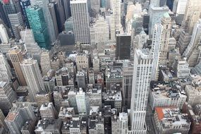 top view of downtown with tall buildings, usa, manhattan, nyc