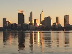 city at ocean, sunset skyline, australia, perth