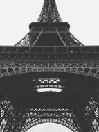 low angle view of eiffel tower, fragment, black and white, france, paris