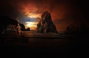 fantasy landscape with rock at colorful sunset sky and house in dusk, digital art