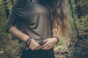 young long haired girl outdoor, torso