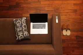 home office notebook couch relaxed atmosphere