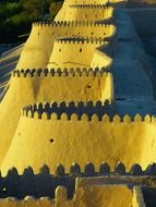 city wall battlements khiva old