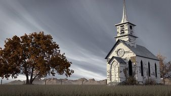 abandoned wooden church and tree in rural landscape