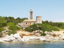 rocky shore lighthouse in greece