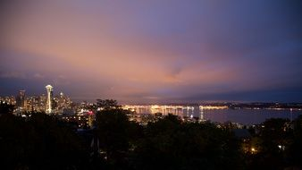 seattle space needle night evening