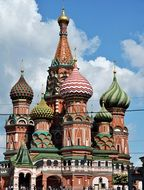 top part of St. Basil's Cathedral at sky, russia, moscow