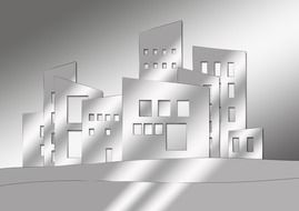 abstract buildings in city, illustration, greyscale