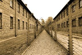 wire fenced path along buildings in auschwitz concentration camp, Holocaust memorial, poland, krakow