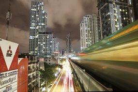 skytrain at night in bangkok