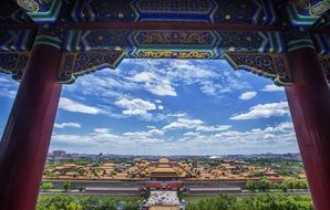 scenery view of city through temple window, china, beijing