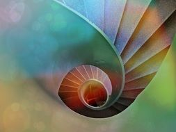 colorful background with spiral staircase