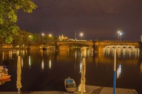 prague old bridge night castle history