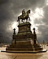 Statue of King John at cloudy sky, germany, saxony dresden