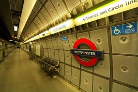 interior of westminster metro station, uk, england, london