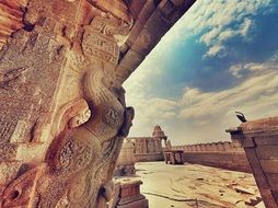 stone carving of ancient hindu temple, india, lepakshi