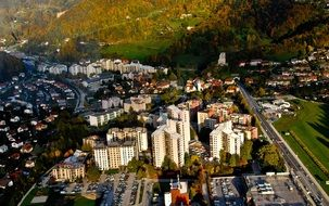 air view of town in mountain valley, slovenia