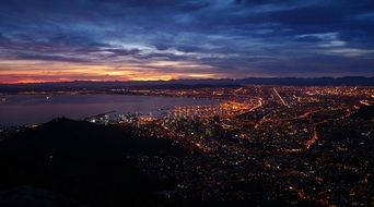 lion's head rock at night cityscape, south africa, cape town