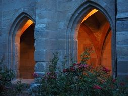 Afterglow of the windows of the Benedictine monastery in Germany