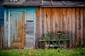 shed bicycle bike old wooden shack