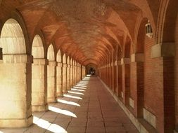 colonnade, arched gallery of Royal Palace, spain, Aranjuez