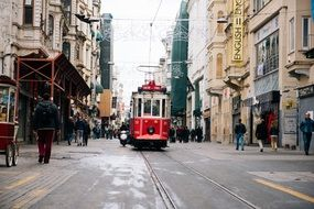 red Tram on Railway in old City